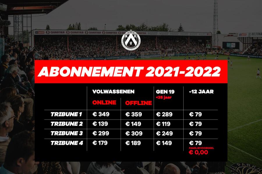 Abonnementsprijzen 2021 2022